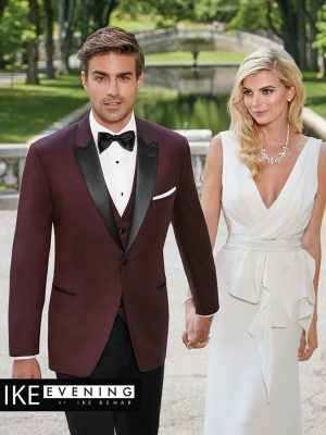 Ike Behar Evening Burgundy Marbella Tuxedo